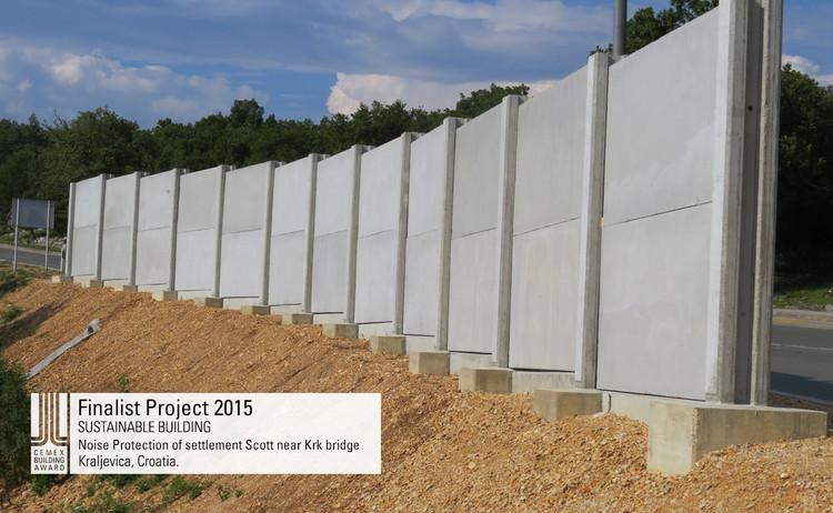 Finalista Construcción sustentable - Noise Protection of settlement Scott near Krk bridge. Image © University of Zagreb, Faculty of Civil Engineering. Courtesy of CEMEX.