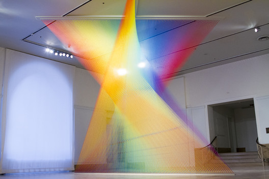 Gabriel Dawe, Plexus no. 30, 2015. Site-specific installation at the Newark Museum.  Gütermann thread, hooks and wood,  199 x 238 x 183 in. ©Gabriel Dawe.  Photo © Pierce Jackson