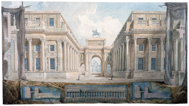 Presentation drawing for the proposed rebuilding of Downing Street with two Triumphal Arches in perspective. Pencil, pen and ink, watercolor & bodycolor ca. 1827