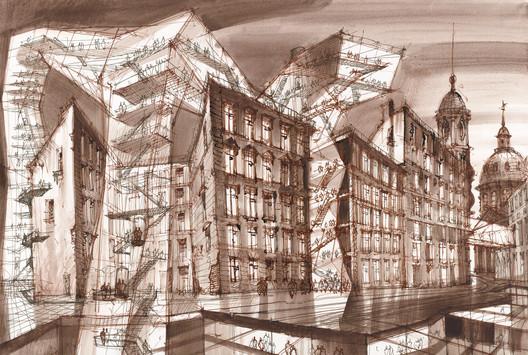 Future Bridges 1. Indian ink, sepia, watercolor on paper,  2014