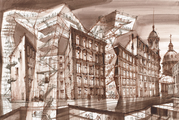 Exhibition: Glazing the Future: Sergei Tchoban's Architectural Fantasies, Future Bridges 1. Indian ink, sepia, watercolor on paper,  2014