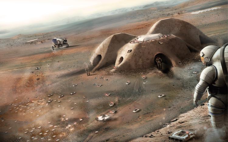 Foster, entre las 30 oficinas finalistas que proponen viviendas impresas en 3D en Marte, © Foster + Partners