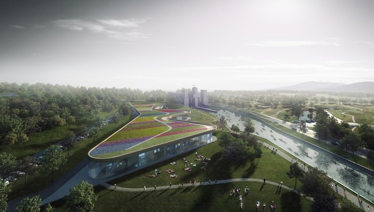 Canadian Canoe Museum Reveals Shortlisted Designs, Heneghan Peng Architects' proposal for the new Canadian Canoe Museum. © Luxigon. Image Courtesy of The Canadian Canoe Museum