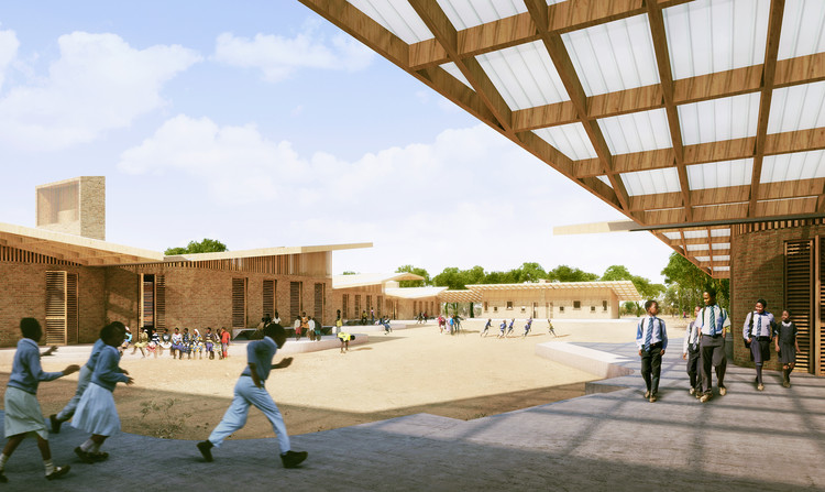 Patio de la escuela de educación primaria. Imagen © Kéré Architecture