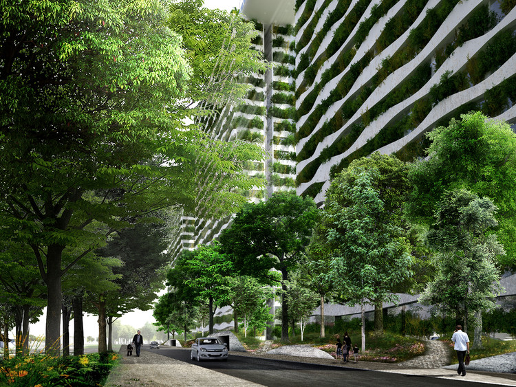 Exterior Rendered Street. Image Courtesy of Vo Trong Nghia Architects