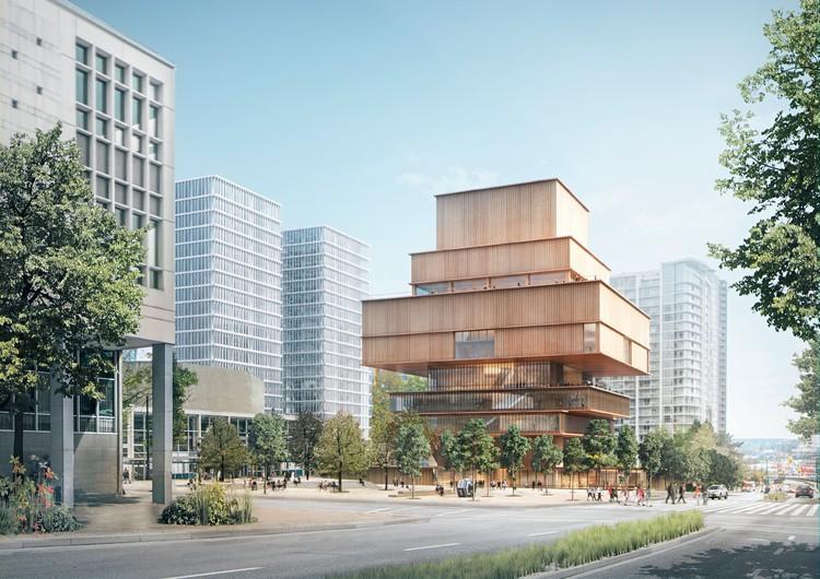 Herzog & de Meuron diseñan nueva galería de arte en Vancouver, Vista a través de Queen Elizabeth Plaza. Imagen © Herzog & de Meuron