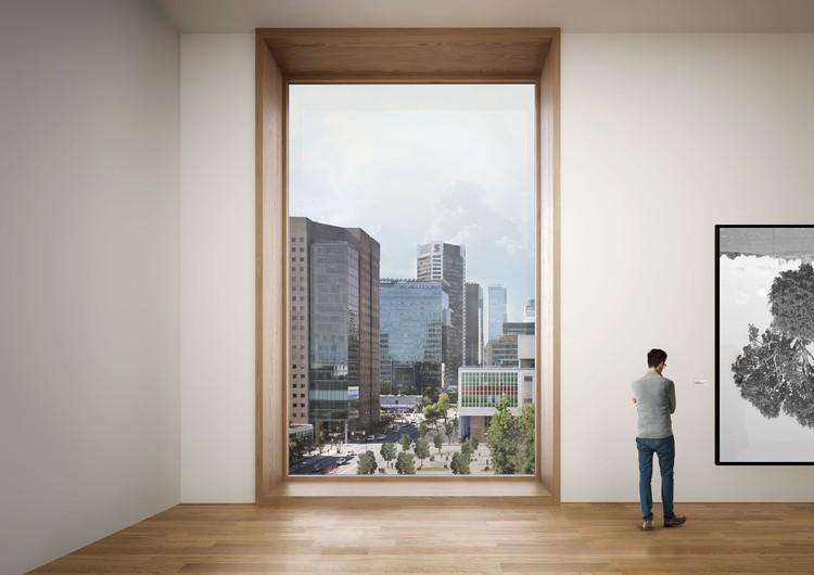 Galería en el nivel 5 con vistas al Queen Elizabeth  Plaza y al centro de la ciudad. Imagen © Herzog & de Meuron