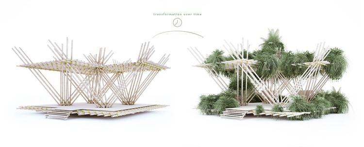 Desarrollo de la instalación en el tiempo. Imagen cortesía de Penda