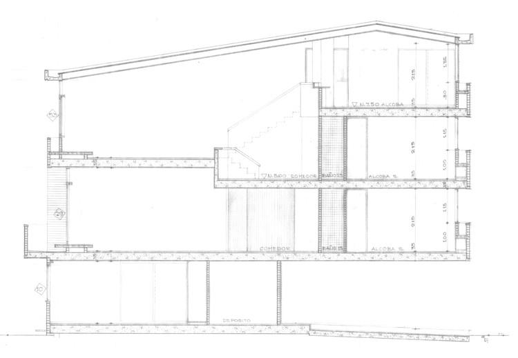 Figura 1. Conjunto Polo Club: corte/sección transversal. Image © Fundación Rogelio Salmona
