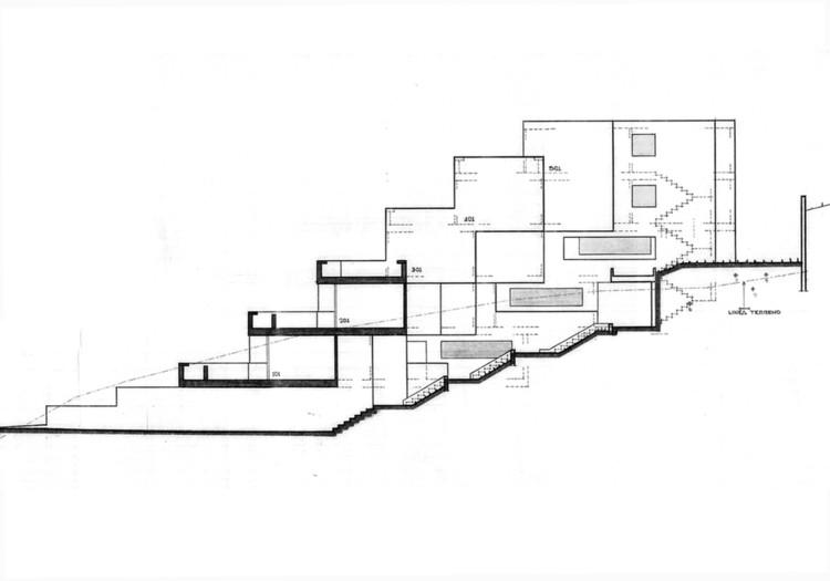 Figura 6. Apartamentos escalonados: corte/sección transversal. Image © Fundación Rogelio Salmona