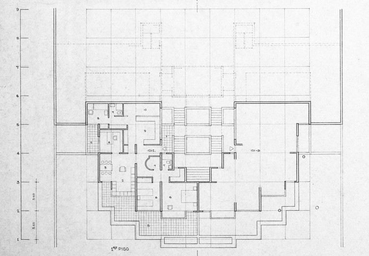 Figura 5. Apartamentos escalonados: planta nivel 2. Image © Fundación Rogelio Salmona