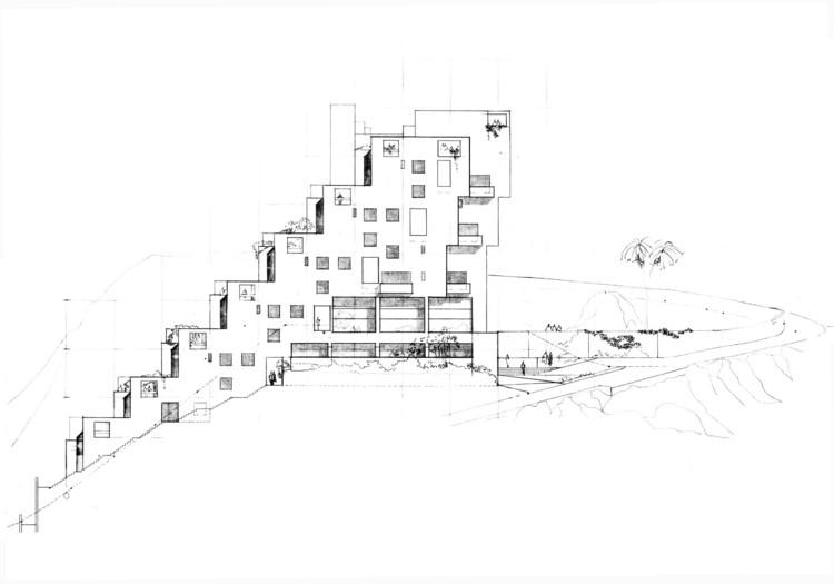 Figura 7. Apartamentos El Rodadero: elevación/fachada occidental. Image © Fundación Rogelio Salmona