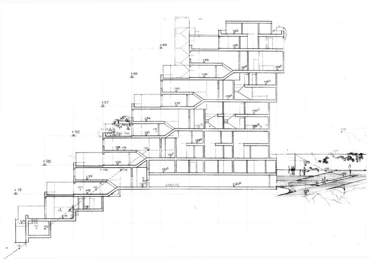 Figura 8. Apartamentos El Rodadero: corte/sección longitudinal. Image © Fundación Rogelio Salmona