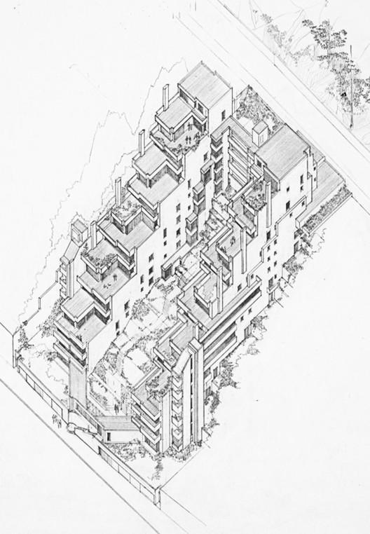 Figura 9. Edificio Alto de los Pinos: axonometría. Image © Fundación Rogelio Salmona