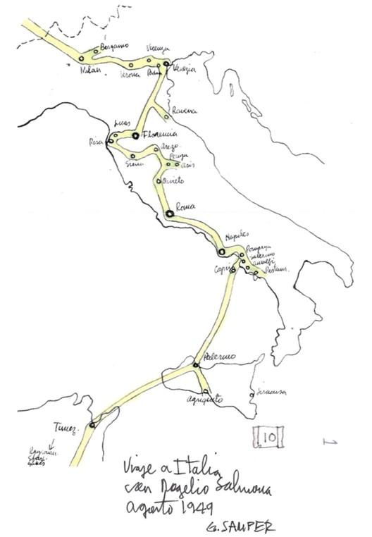 Figura 18. Croquis del viaje a Italia de Rogelio Salmona y Germán Samper en 1949. Image © Germán Samper