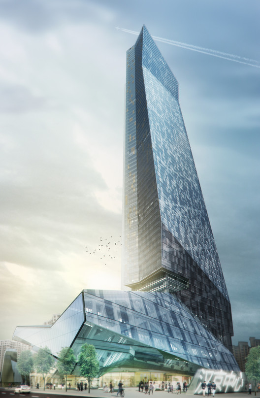 Rendering of Morphosis Architects' Hanking Center Tower in Shenzhen. Image © Morphosis Architects