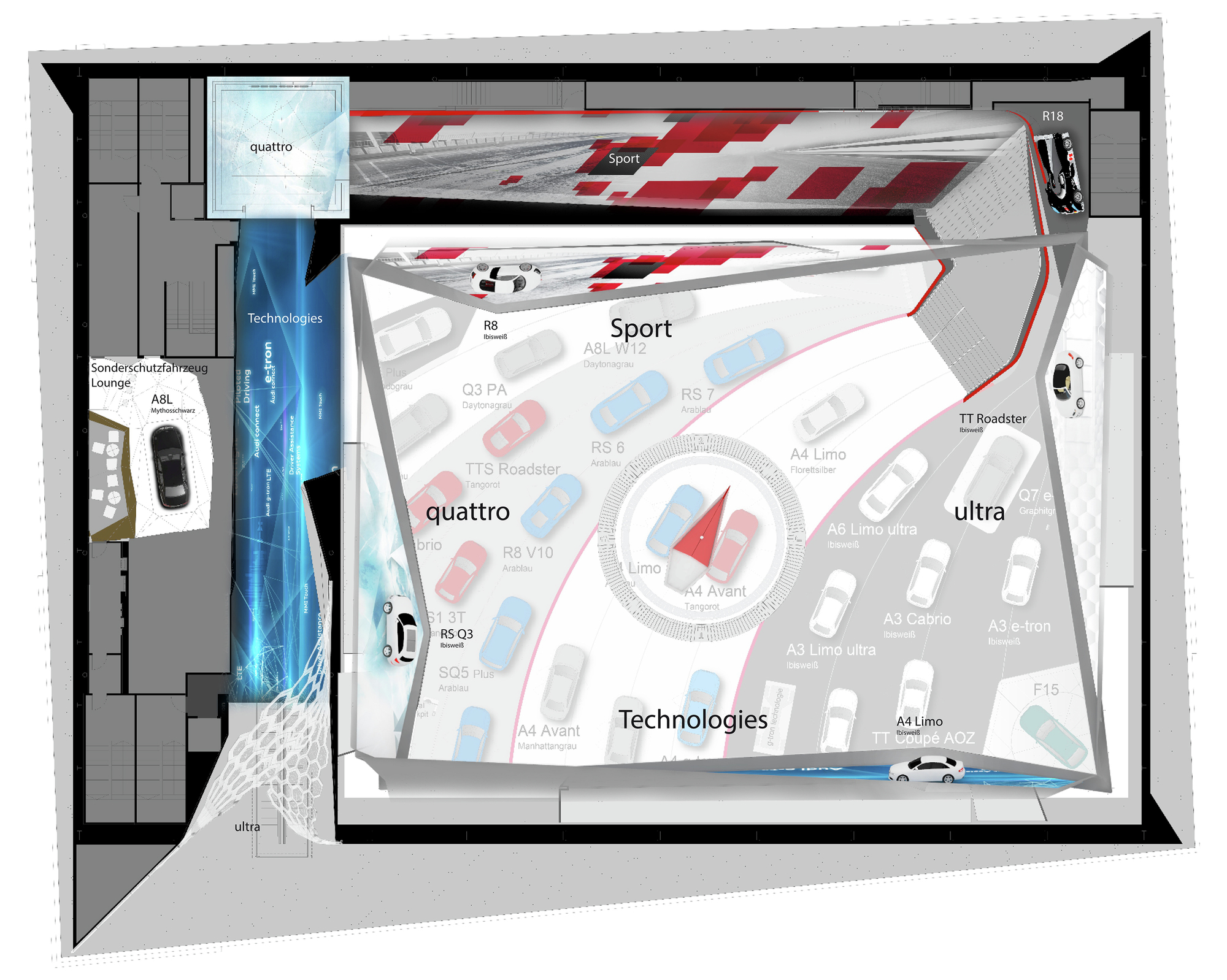 Gallery of audi motor show 2015 schmidhuber 11 for Floor plans auto dealers