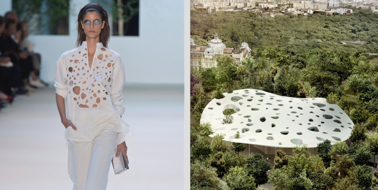 Sou Fujimoto's Buildings Serve as Inspiration at Paris Fashion Week , © Giovanni Giannoni via WWD and © Sou Fujimoto Architects, Courtesy of Liget Budapest