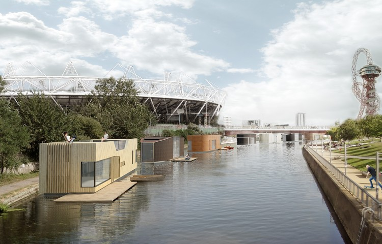 "NLA and Mayor of London Select 10 Winners in ""London's Housing Crisis"" Competition, Buoyant Starts / Floating Homes Ltd with Baca Architects. Image Courtesy of New London Architecture"