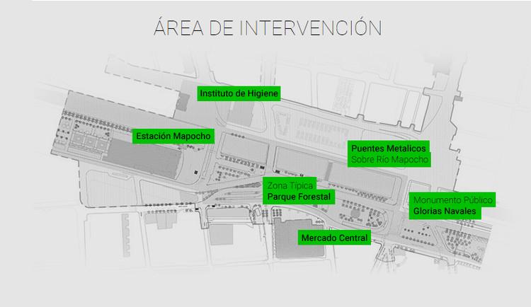 Área de intervención considerada por el concurso. Image Cortesía de Municipalidad de Santiago
