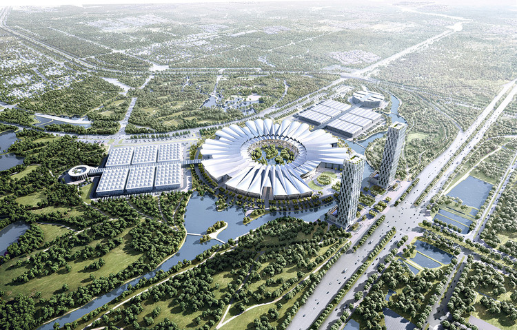 gmp Selected to Design Vietnam's National Exhibition and Trade Fair Center, Bird's eye view. Image © Atchain