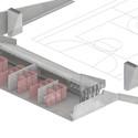 Isométrica do vestiário. Image Cortesia de Giulia Aikawa, Thiago Steffen, Umberto Violatto e Yuri Wagner