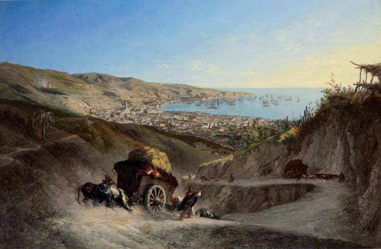 Charton, Ernest, Bajada de Valparaiso 1857 [Dominio público]. Image vía Wikimedia Commons