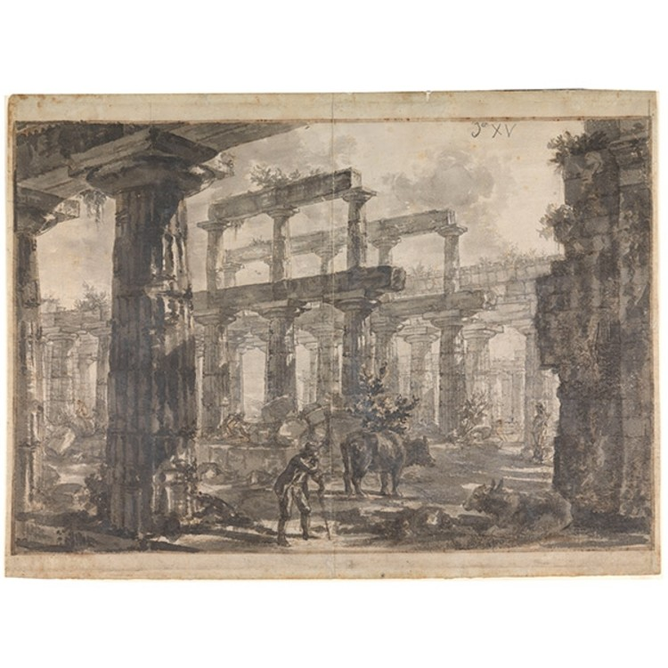 Giovanni Battista Piranesi (Italy, 1720–1778), Paestum, Italy: Interior of the Temple of Neptune from the North-East, 1777. Pencil, brown and grey washes, red chalk, pen and ink. Sir John Soane's Museum