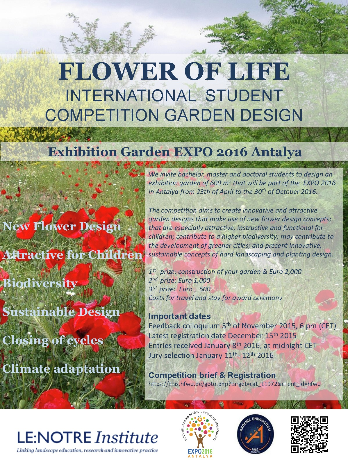 Poster design competition -  Flower Of Life International Student Competition For Garden Design Archdaily