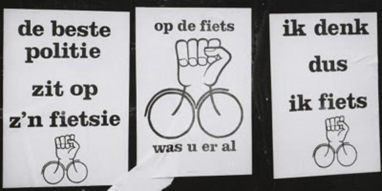 Cartazes dos ciclo-ativistas em Amsterdã, 1980