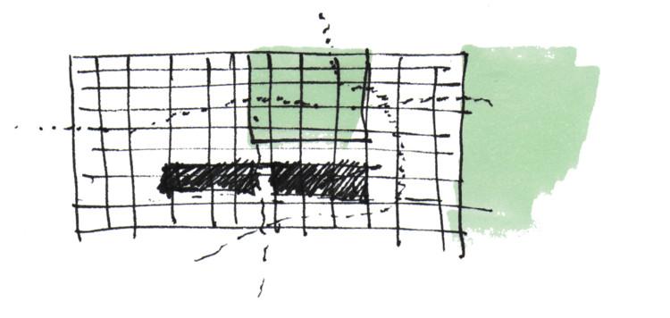 Croquis: flujos interiores. Image Cortesía de Emilio Garateguy e Ignacio Trecca