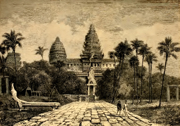 Henri Mouhot's drawing of Angkor Wat. Image via Public Domain, Wikimedia Commons
