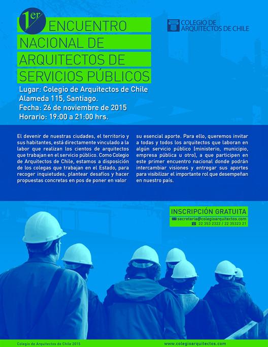 Primer Encuentro de Arquitectos de Servicios Públicos / Colegio de Arquitectos de Chile, Fuente: Colegio de Arquitectos de Chile