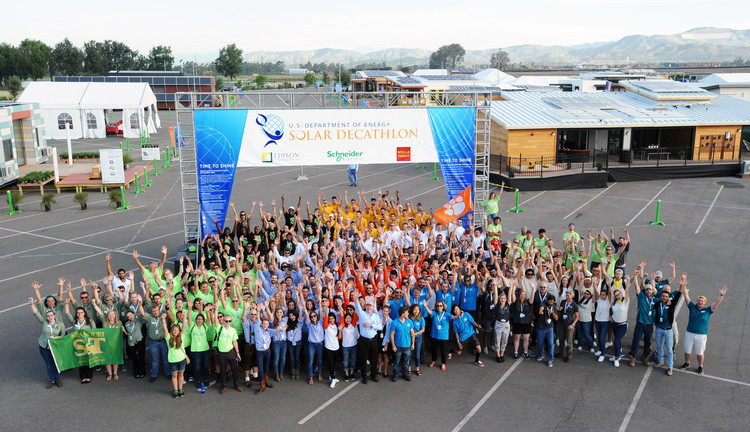 Participants in the 2015 Solar Decathlon. Image © Thomas Kelsey / U.S. Department of Energy Solar Decathlon