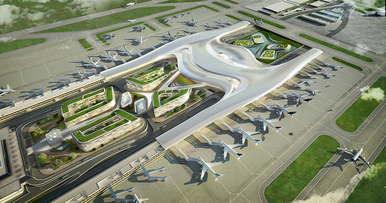 UNStudio Proposes User-Centric Design for the Taiwan Taoyuan International Airport, Aerial Rendered View. Image Courtesy of UNStudio