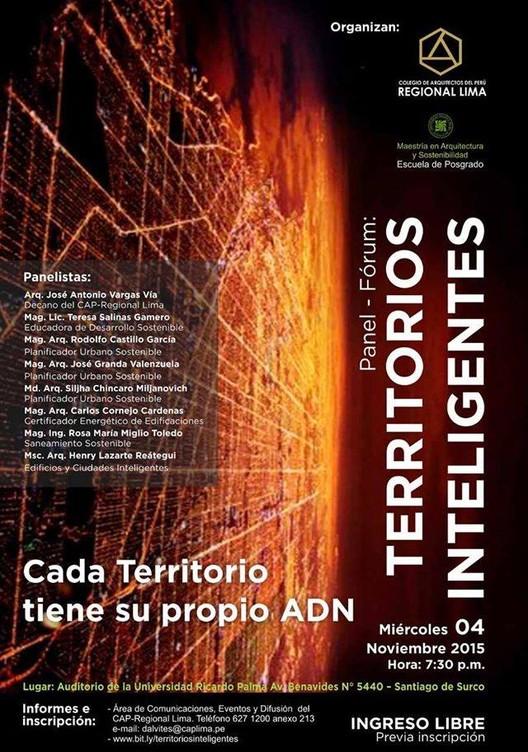 Panel-Fórum: Territorios Inteligentes, vía Colegio de Arquitectos del Perú Regional Lima
