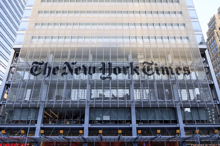 Michael Bierut was behind the design of the sign gracing Renzo Piano's New York Times building. Image © Osugi via Shutterstock.com