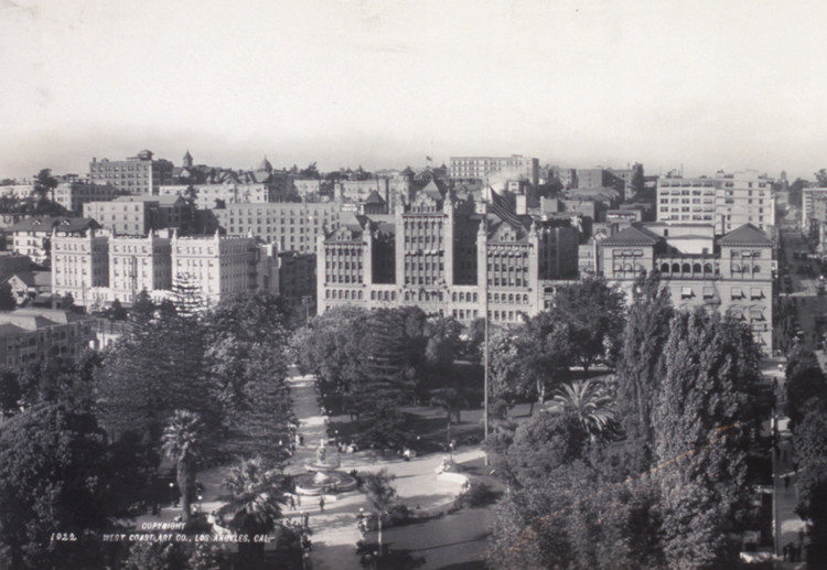 Vista histórica de Pershing Square. Imagen © Legorreta + Legorreta, fotografías por Lourdes Legorreta