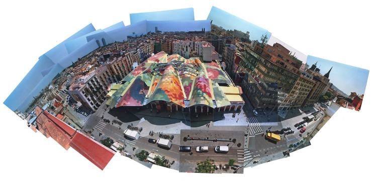 Photocollage of Santa Caterina Market, Barcelona. Image Courtesy of EMBT