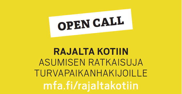 Open Call: From Border to Home - Housing Solutions for Asylum Seekers  , Background image from October 19, 2015, when the competition was officially announced and the seminar From Border to home was held at the Museum of Finnish Architecture. Image: https://www.facebook.com/events/459376257575342/
