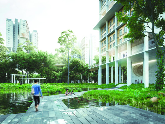 The waterscape in the precinct is one of its distinct characteristics, where residents are able to get in close proximity with different habitants.. Image Courtesy of Norm Li for MKPL/Turenscape Team