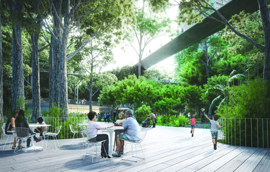 A communal deck stretches into the Linear Forest- the Rail Corridor that has been reforested, where the residents enjoys the rare privilege of living in a forest. . Image Courtesy of Norm Li for MKPL/Turenscape Team