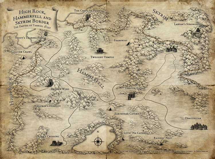 "Mapa de ""The Elder Scroll: Skyrim"" (2011). Image © Bethesda Game Studios"