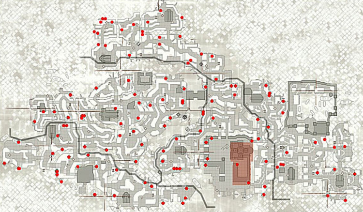 "Map of Venice inn ""Assassin's Creed II"" (2009). St. Mark's Basilica and the Doge's Palace are highlighted in red. Image © Ubisoft Montreal"