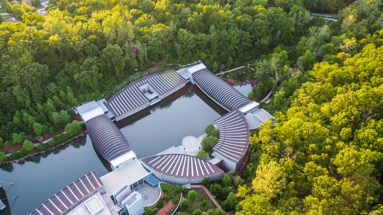 Aerial view of Crystal Bridges; photography by Adair Creative. Courtesy of Crystal Bridges Museum of American Art, Bentonville, Arkansas.
