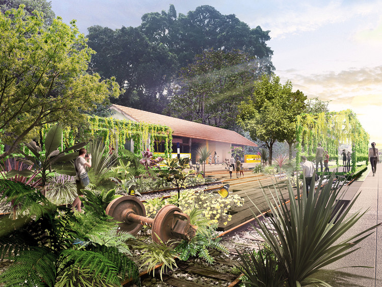 Nikken Sekkei Designs Master Plan to Revitalize a Former Railway Spanning the Entirety of Singapore , The Station Garden accommodates amenities like a bicycle station, and a café, as well as spaces for larger events like the Green Corridor Run within a lush, green environment. Image © Nikken Sekkei