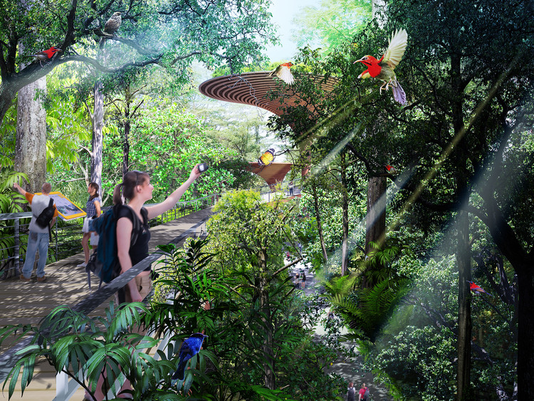 A hub for eco-based activities such as camping and educational programmes is created with a lookout tower to enjoy a panoramic view of the Bukit Timah Nature Reserve. Image © Nikken Sekkei