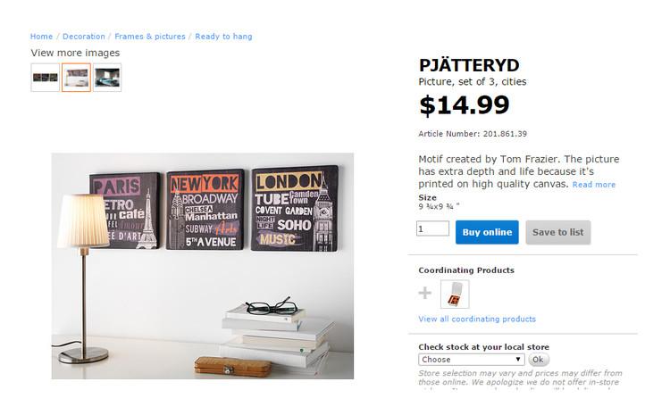 París, Nueva York y Londres, reducidos a cuadros disponibles en IKEA. Image vía IKEA