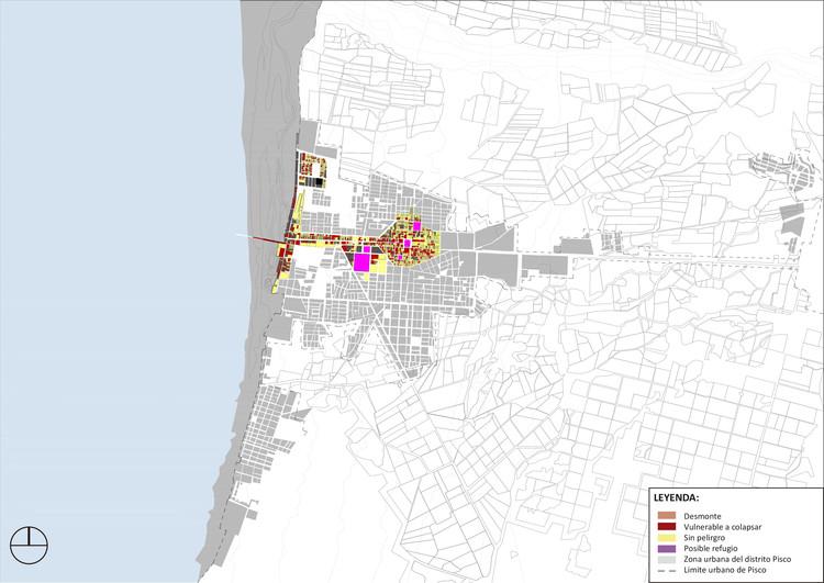 Riesgo y mitigación en el espacio publico de Pisco al 2015. Image Cortesía de Cerasil Rangel Mungi