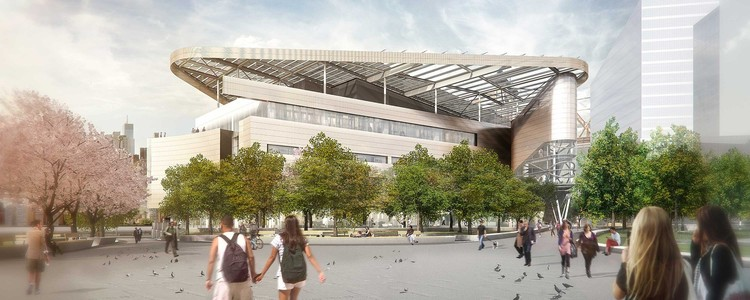 Bloomberg Center Exterior Rendering. Image Courtesy of Morphosis Architects